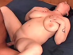 Chubby brunnette hard fucked on bed